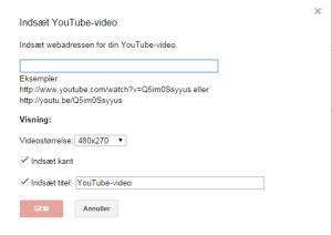 """Det er let at indleje - (""""embedde"""") Youtube-videoer i et Google Site."""